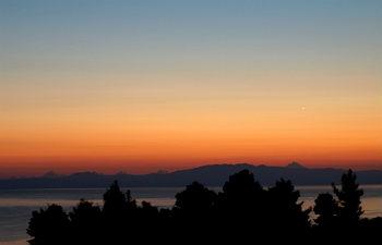 Kassandra klimaat fraaie zonsopkomst